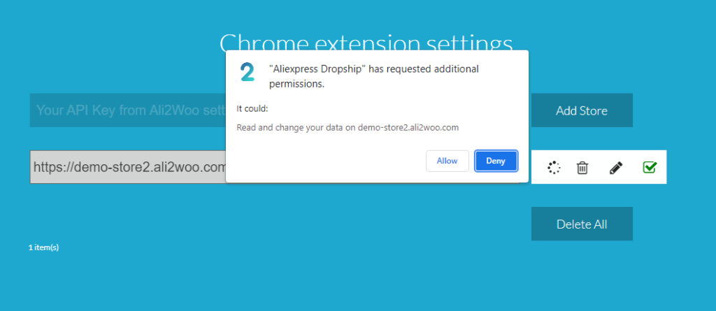 allow chrome extension to work with store